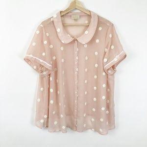 ModCloth Polka Dot Peter Pan Sheer Blush Shirt 2X
